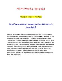 NRS 441V Week 3 Topic 3 DQ 1