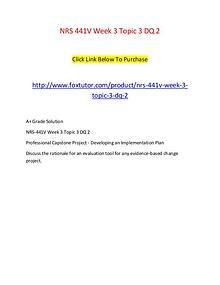 NRS 441V Week 3 Topic 3 DQ 2
