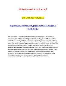 NRS 441v week 4 topic 4 dq 2