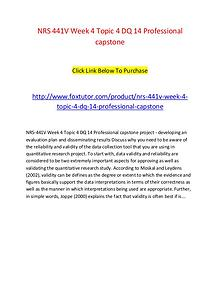 NRS 441V Week 4 Topic 4 DQ 14 Professional capstone