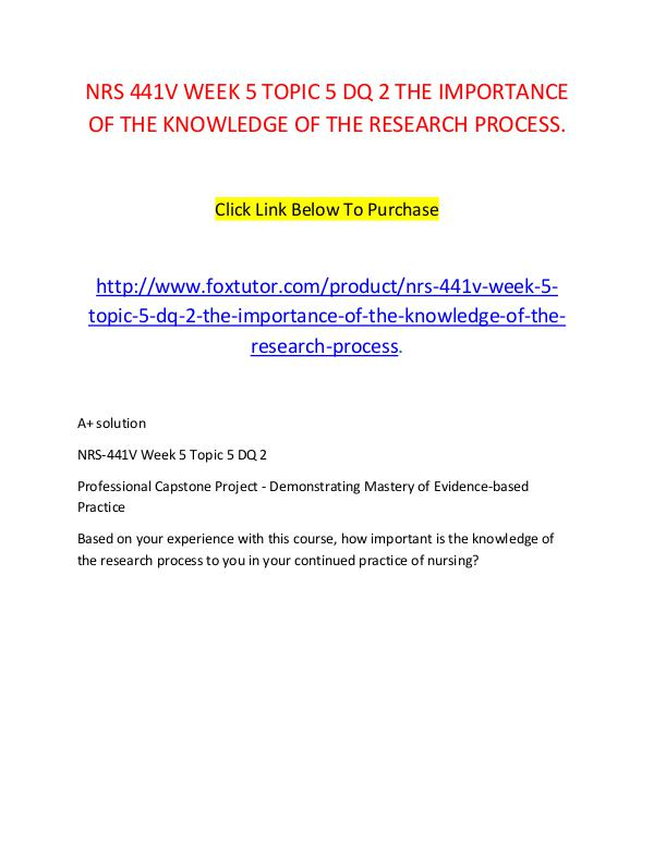 NRS 441V WEEK 5 TOPIC 5 DQ 2 THE IMPORTANCE OF THE KNOWLEDGE OF THE R NRS 441V WEEK 5 TOPIC 5 DQ 2 THE IMPORTANCE OF THE