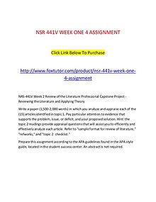 NSR 441V WEEK ONE 4 ASSIGNMENT