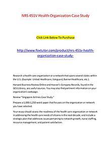 NRS 451V Health Organization Case Study
