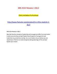 NRS 451V Module 1 DQ 2