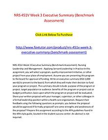 NRS 451V Week 3 Executive Summary (Benchmark Assessment)
