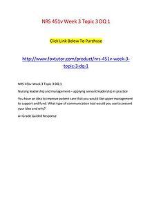NRS 451v Week 3 Topic 3 DQ 1