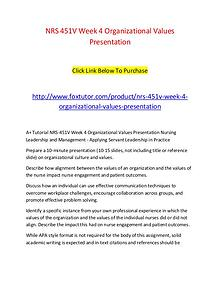 NRS 451V Week 4 Organizational Values Presentation
