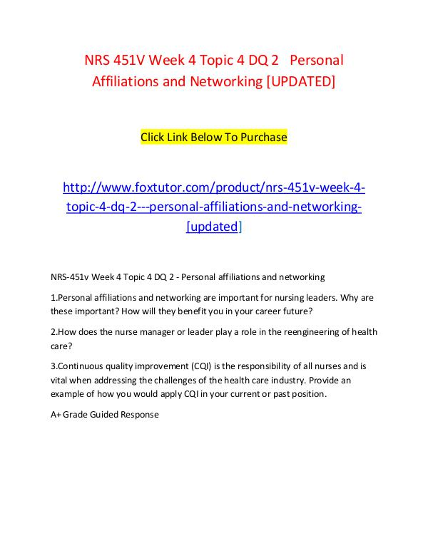 NRS 451V Week 4 Topic 4 DQ 2   Personal Affiliations and Networking [ NRS 451V Week 4 Topic 4 DQ 2   Personal Affiliatio