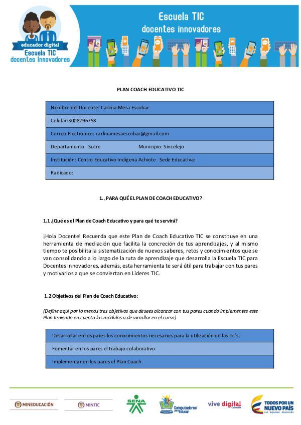 Plan Coach Educativo Plan Coach Educativo TIC Carlina Mesa Escobar