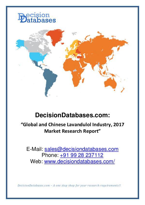 MarketsCorner Global and Chinese Lavandulol Market Report 2017