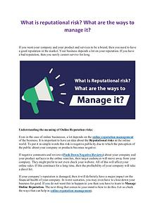 What is reputational risk? What are the ways to manage it?