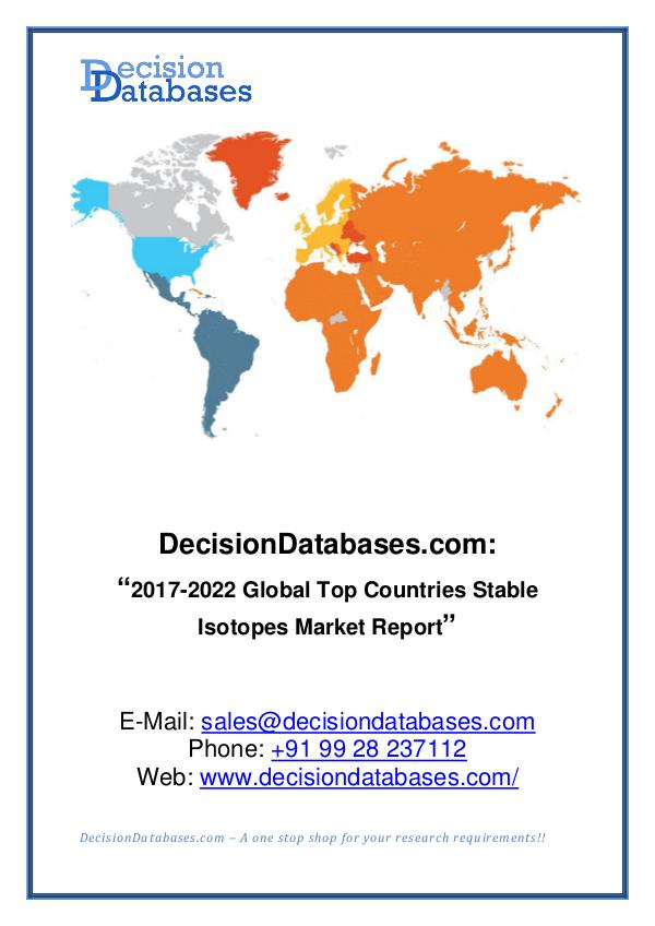 Market Report Stable Isotopes Market Research Report 2017