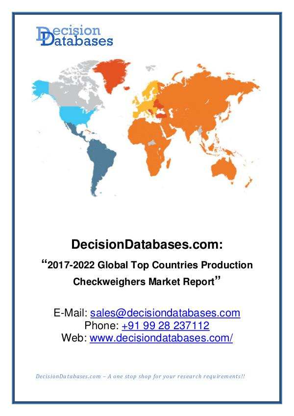 Market Report Global Production Checkweighers Market Report 2017