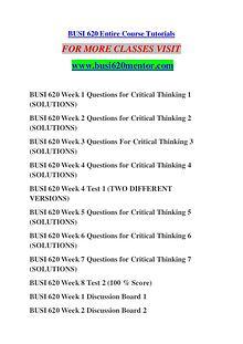BUSI 620 MENTOR Keep Learning /busi620mentor.com