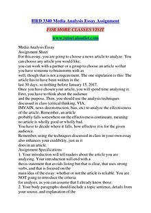 HRD 3340 MEDIA ANALYSIS ESSAY ASSIGNMENT / TUTORIALOUTLET DOT COM
