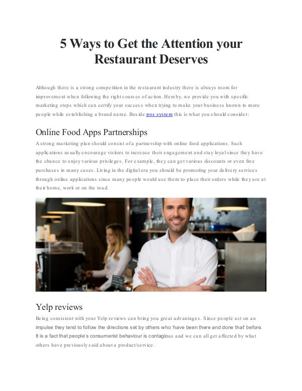 5 Smart Steps to Improve your Restaurant Business 5 Ways to Get the Attention your Restaurant Deserv