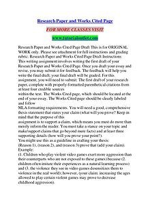RESEARCH PAPER AND WORKS CITED PAGE / TUTORIALOUTLET DOT COM