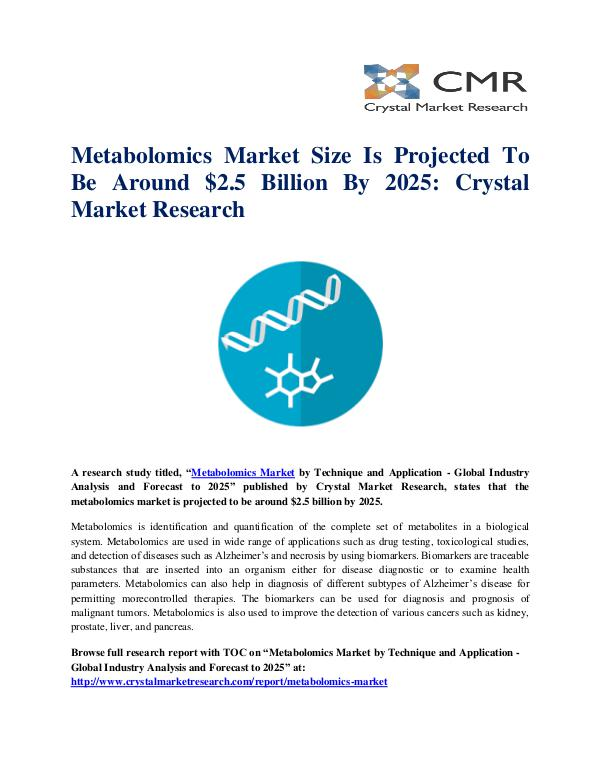 Market Research Reports- Consulting Analysis Crystal Market Research Metabolomics Market by Technique and Application -