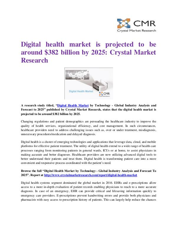 Market Research Reports- Consulting Analysis Crystal Market Research Digital Health Market Press Release