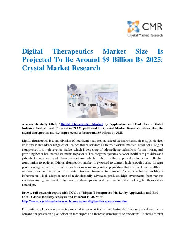 Digital Therapeutics Market by Application and End