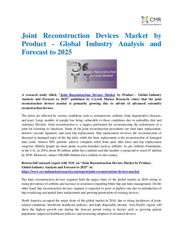 Market Research Reports- Consulting Analysis Crystal Market Research Joint Reconstruction Devices Market by Product - G