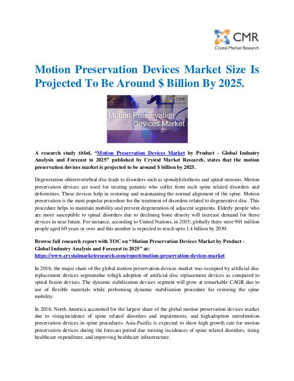 Market Research Reports- Consulting Analysis Crystal Market Research Motion Preservation Devices Market by Product - Gl