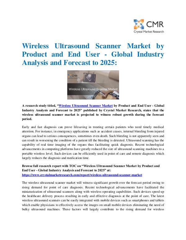Market Research Reports- Consulting Analysis Crystal Market Research Wireless Ultrasound Scanner Market by Product and