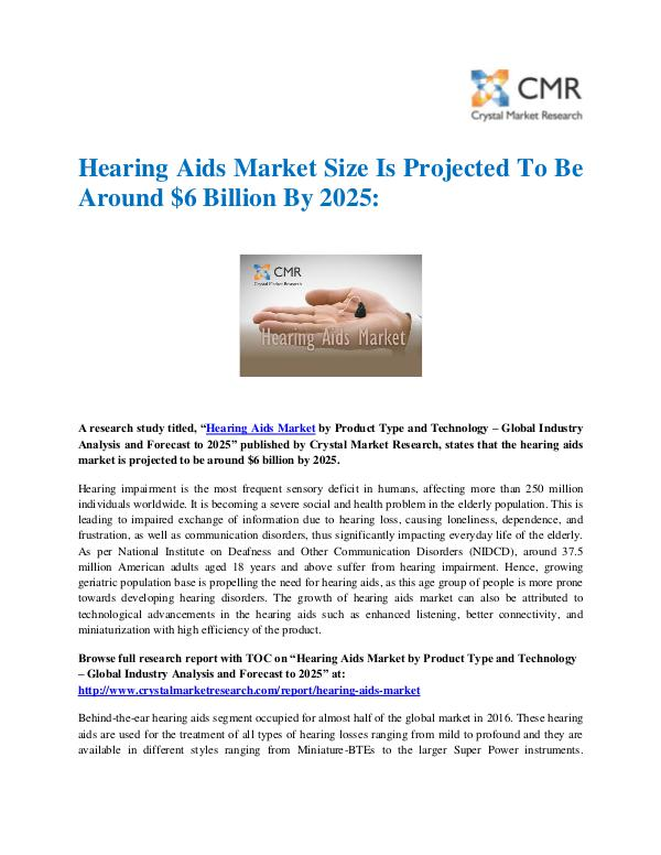 Hearing Aids Market by Product and Technology - Gl