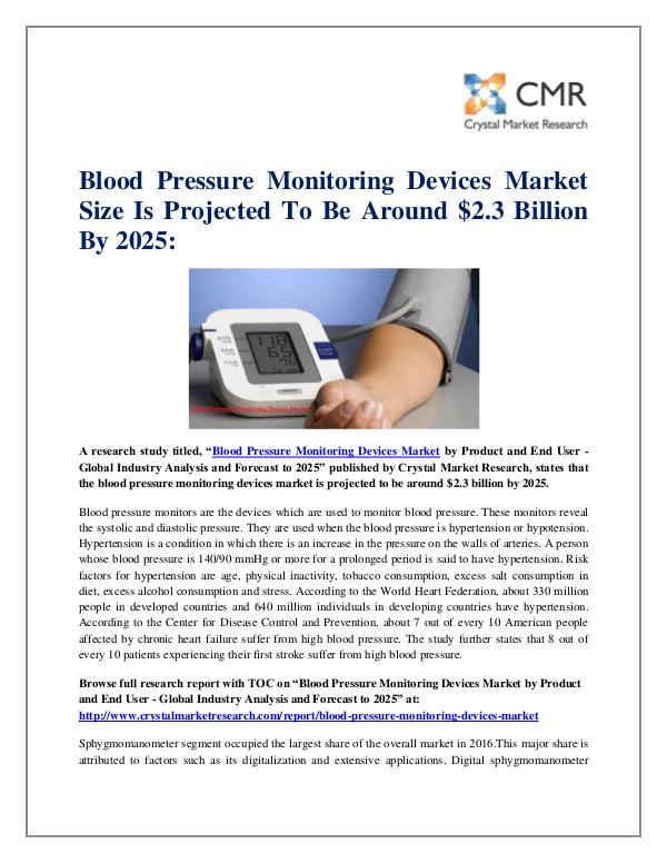 Blood Pressure Monitoring Devices Market by Produc