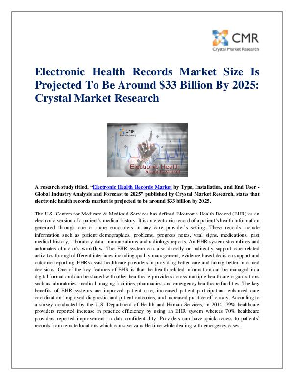 Electronic Health Records Market by Type - Global