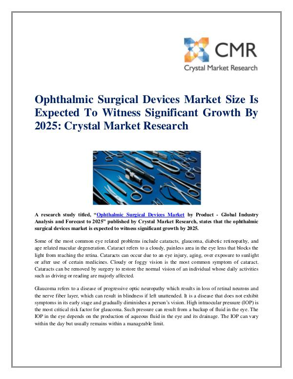 Market Research Reports- Consulting Analysis Crystal Market Research Ophthalmic Surgical Devices Market