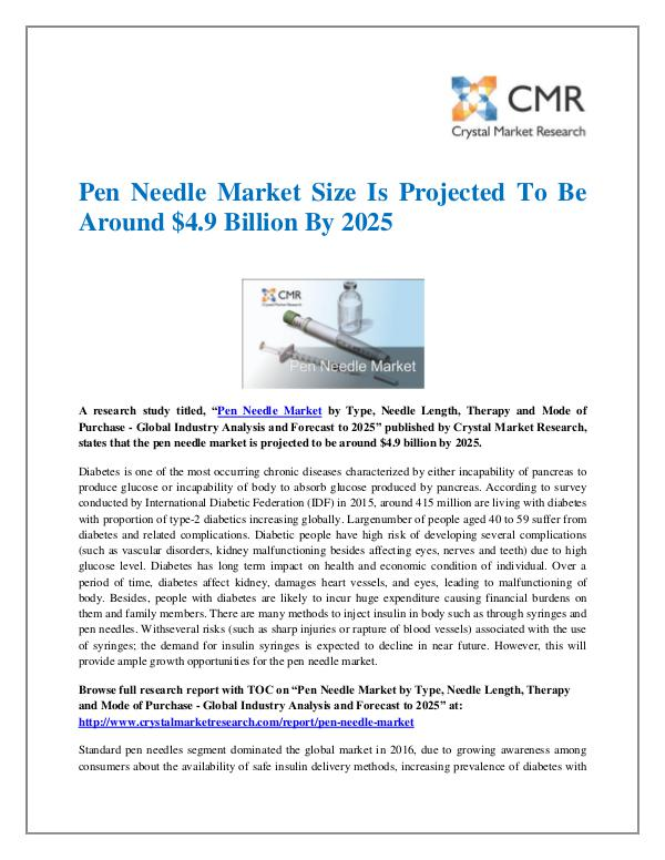 Pen Needle Market