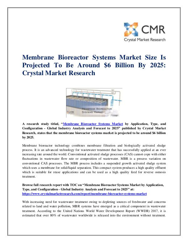 Market Research Reports- Consulting Analysis Crystal Market Research Membrane Bioreactor Systems Market
