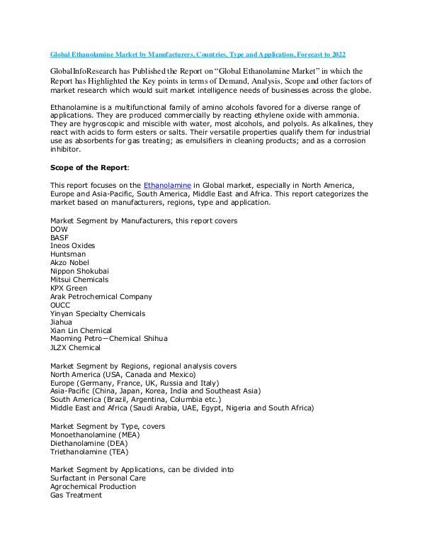 Reports world wide Global Ethanolamine Market