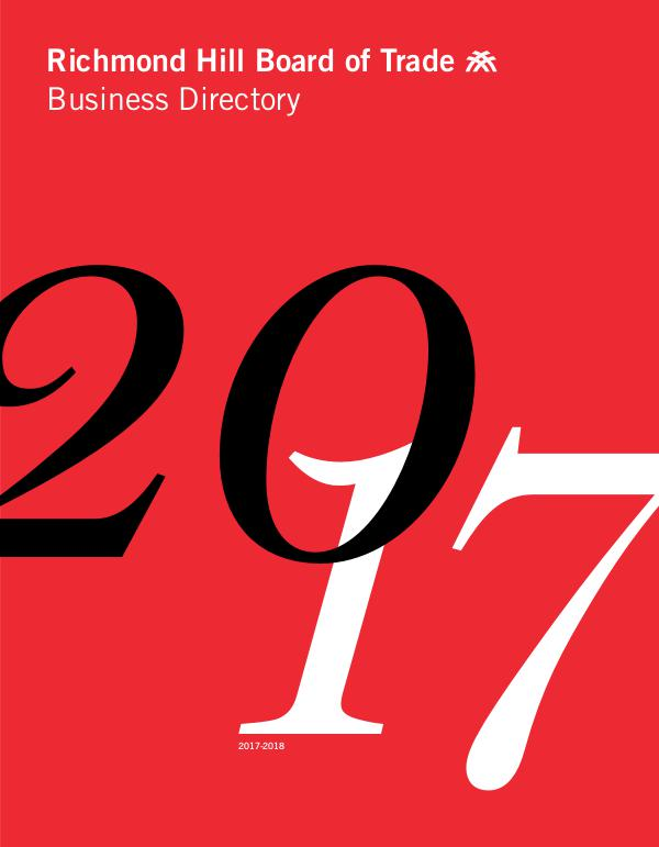 Richmond Hill Board of Trade Business Directory 2017 Business Directory 2017