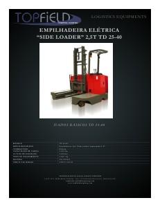 Empilhadeiras e Equipamentos de Logística SIDE LOADER ELÉTRICA 2.5T