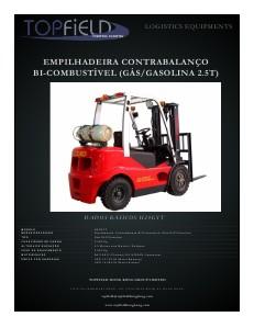 Empilhadeiras e Equipamentos de Logística EMPILHADEIRA BI COMBUSTÍVEL 2.5T