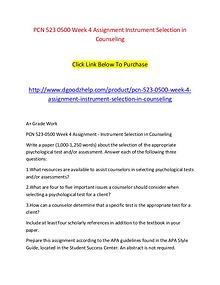 PCN 523 0500 Week 4 Assignment Instrument Selection in Counseling