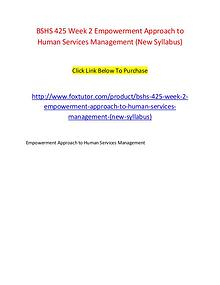 BSHS 425 Week 2 Empowerment Approach to Human Services Management (Ne