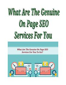 What Are The Genuine On Page SEO Services For You To Get?
