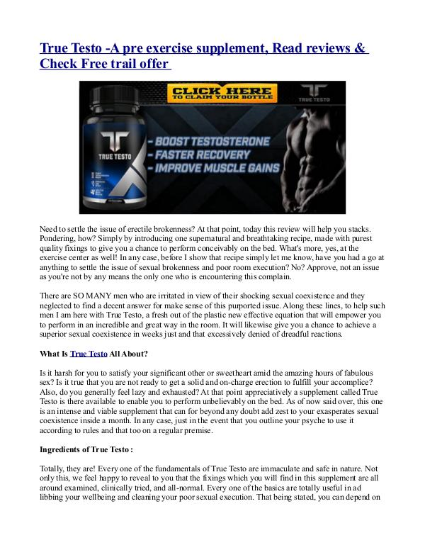 Test Shred Supplement - Post Workout Muscle Builder with Free Trial!! True Testo -A pre exercise supplement, Read review