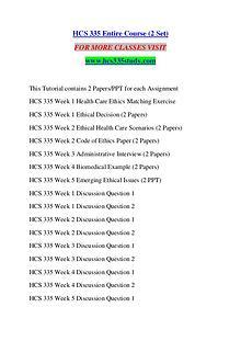 HCS 335 STUDY Keep Learning /hcs335study.com