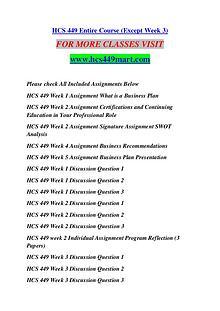 HCS 449 MART Keep Learning /hcs449mart.com