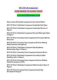 HCS 525 MENTOR Keep Learning /hcs525mentor.com