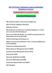 HCS 533 STUDY Keep Learning /hcs533study.com