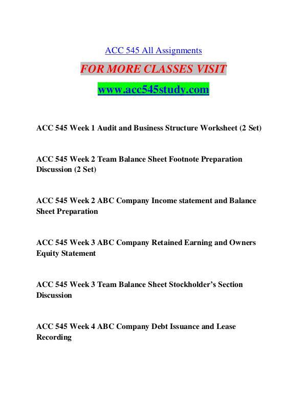ACC 545 STUDY Start With a Dream /acc545study.com ACC 545 STUDY Start With a Dream /acc545study.com