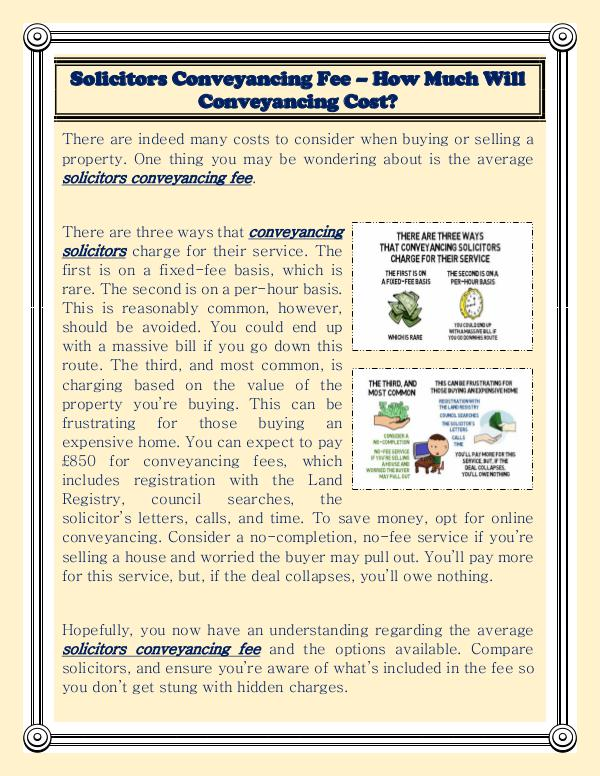 Solicitors Conveyancing Fee – How Much Will Conveyancing Cost? Solicitors Conveyancing Fee – How Much Will Convey