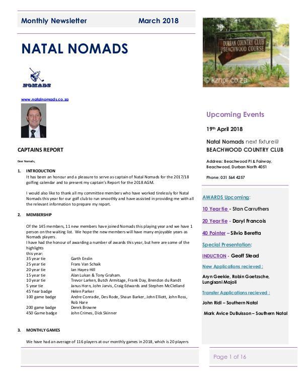 Monthly Newsletter Amanzimtoti  22 March 2018