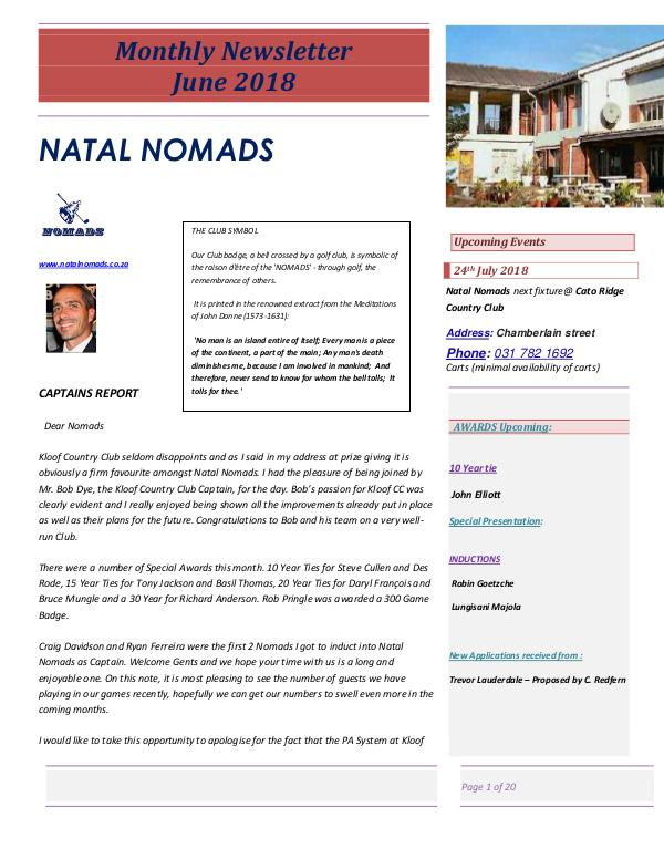 Monthly Newsletter Kloof Country Club  19th June 2