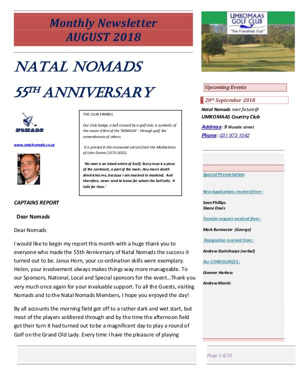 NATAL NOMADS Golf Club Monthly issue Monthly Newsletter Durban Country Club August 2018